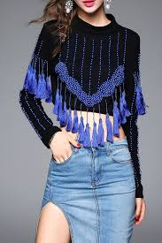 blueoxy blue beaded cropped tassel sweatshirt sweatshirts at dezzal