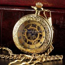 aliexpress com buy steampunk skeleton golden roman male clock