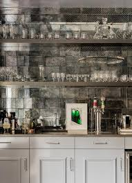 Bar Mirror With Shelves by Gray Wet Bar With Antiqued Mirror Subway Tile Backsplash