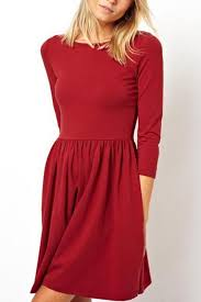 red half sleeves simple dress casual dresses women casual