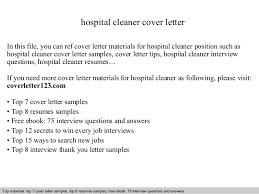 Resume Samples For Cleaning Job by Hospital Cleaner Cover Letter