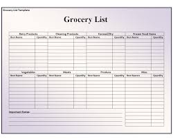 Shopping List Template Excel Grocery List Template Free Formats Excel Word