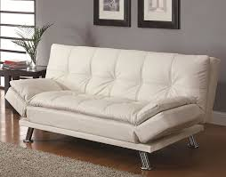 Sofa Bed White Leather Appealing Gray Polyfiber Futon Sofa Beds Cream Polyester Curtain