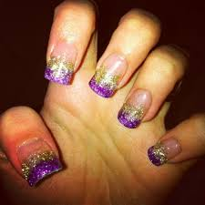 gradient color gold and purple acrylic nail designs prom