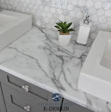 budget friendly bathroom update ideas formica calacatta marble