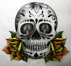 day of the dead skull and roses and