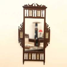 pegasus bathroom mirrors teak wood maharaja wall mirror with dhokra work in walnut brown