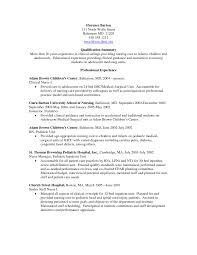 pediatric nurse resume sample good nursing resume examples nurse