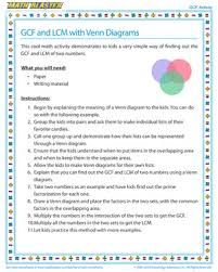 gcf and lcm with venn diagrams gcf activities math blaster