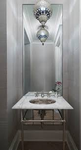 Luxury Powder Room Vanities Platinum Gray Powder Room With Moroccan Lantern Contemporary
