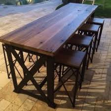 Outdoor Bar Table And Stools Hadncrafted And Gritty Industrial Lines Collide In This