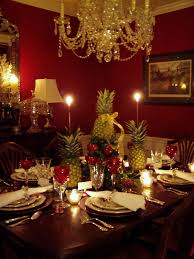 Dining Room Table Setting Ideas Brown Stained Teak Wood Dining Table Decorate With Flower