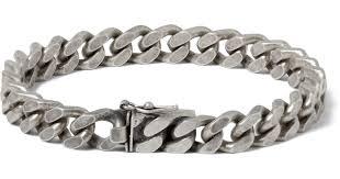 bracelet silver chain images Lyst saint laurent burnished sterling silver chain bracelet in jpeg