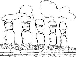 island coloring page moai the monolithic statues of easter island worldwonders coloring