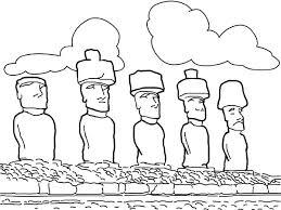 moai monolithic statues easter island worldwonders coloring
