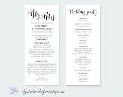 Rustic Wedding Program Template Wedding Program Template Printable Diy Rustic Calligraphy