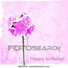 clipart of happy birthday card with pink flowers k6022910 search