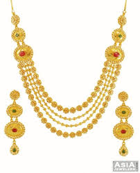gold stones necklace images 22k precious stone necklace set ajns59329 22k gold designer jpg