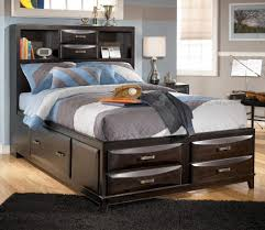 Queen Size Bed With Trundle Furniture Home Queen Size Storage Bed With Bookcase Headboard