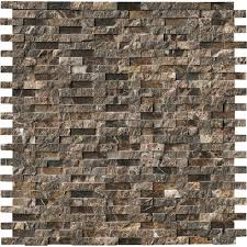 Split Face Stone Backsplash by Ms International Emperador Splitface 12 In X 12 In X 10 Mm