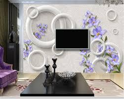 wallpaper bunga lingkaran beibehang wallpaper untuk dinding 3 d kustom hangat busana ungu