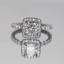 2 5 Cushion Cut Diamond Engagement Ring Cushion Cut Engagement Ring With Diamonds On Halo Facing Up