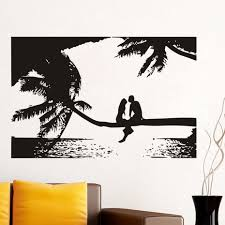 online buy wholesale palm tree mural from china palm tree mural lover sitting on the palm tree wall mural living room hollow out seaside landscape wall stickers