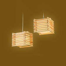 country style pendant lights creative handmade wooden pendant lights cube 18cm country style