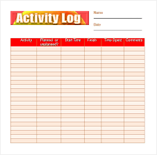 action log template excel activity log sample 5 documents in pdf