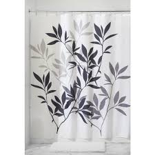 And Black Fabric For Curtains Interdesign Leaves Fabric Shower Curtain Black Gray