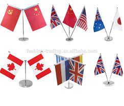 Plastic Flags Two Flags Holder New Table Flag With Stainless Steel Wooden