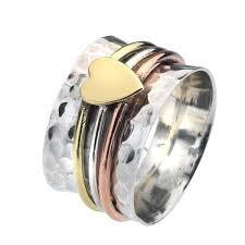 spinner rings sterling silver three band heart spinner ring