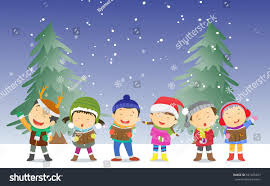 happy kids singing christmas carols stock illustration 521205457