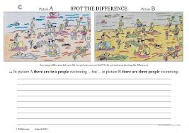 spot the difference at the beach worksheet free esl printable