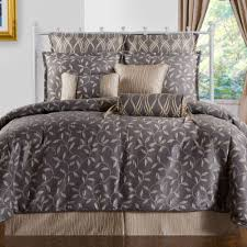 bedroom grey comforter with leaves pattern plus sham and cushion