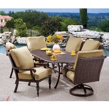 Villa Piece Cushioned Patio Dining Set - 7 piece outdoor dining set with round table