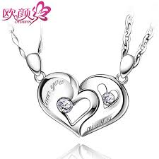 custom necklaces for couples ouyan couples necklaces interlocking open heart puzzle pendants