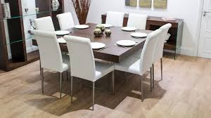 funky thick dark wood table glass legs real leather dining chairs