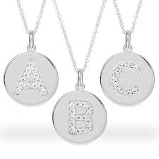 Monogram Disc Necklace Silver Disc Initial Necklace With Keepsake Box
