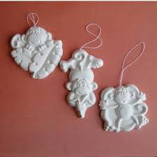 monkeys unpainted craft ornaments set of by barbaraportraits