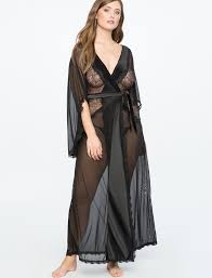 dressing gown sheer dressing gown w eyelash lace sides satin tie eloquii