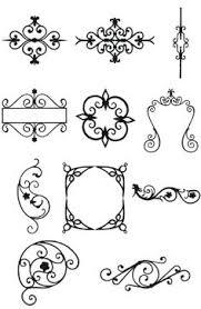 wrought iron retro design elements stock