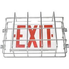large cage style exit sign emergency light guards american wire