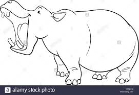 black and white cartoon illustration of hippopotamus wild animal