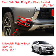 mitsubishi pajero sport 2017 black front side skirt body kits black painted for mitsubishi pajero