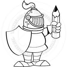 cartoon knight holding a shield and a pencil black u0026 white line