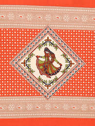 floral with rajasthani lady print king size cotton fabric double