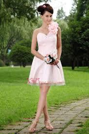 light pink dama dresses light pink a line one shoulder mini length tulle hand made flowers