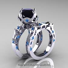 black and blue wedding rings modern antique white gold black diamond blue topaz solitaire