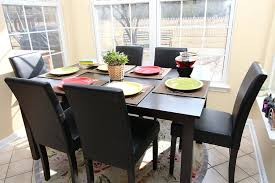 Dining Table And 6 Chairs Cheap 7 Pc Espresso Leather Brown 6 Person Table And Chairs